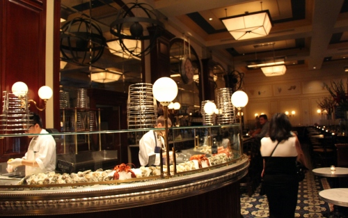 The elegant raw bar near the entrance.